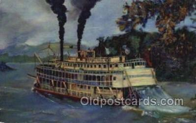 shi075174 - Old Fashioned Mississippi Stern Wheeler Ferry Boats, Ship, Ships, Postcard Post Cards
