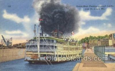 shi075252 - Steam Boat Passing Though Locks Ferry Boats, Ship, Ships, Postcard Post Cards
