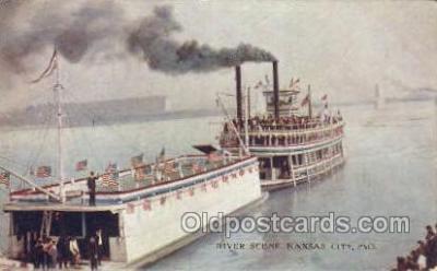 shi075740 - River Scene Kansas City MO Ferry Boat, Ferries, Ship, Ships, Postcard Post Cards