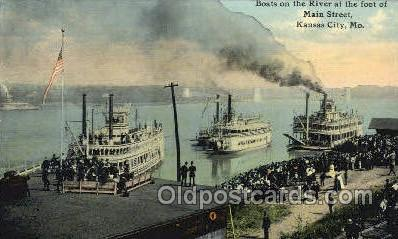 shi075768 - Boats On The River Foot Of Main Street Ferry Boat, Ferries, Ship, Ships, Postcard Post Cards