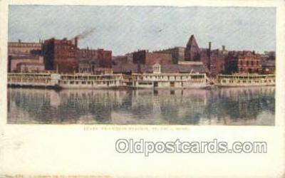 shi075790 - Levee And Union Station Ferry Boat, Ferries, Ship, Ships, Postcard Post Cards