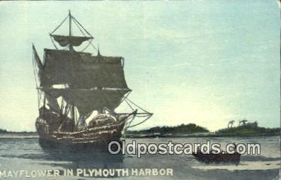 shi100320 - The Mayflower, Plymouth, Massachusetts, MA USA Sail Boat Postcard Post Card