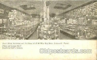 shp001050 - Drew's Book Stationery & Art Store Jacksonville, FL, USA Postcard Post Cards Old Vintage Antique