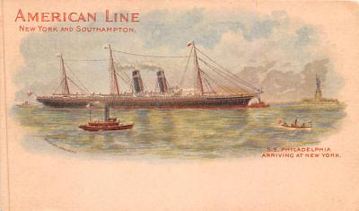 shp010047 - American Line Ship Postcard Old Vintage Antique Post Card