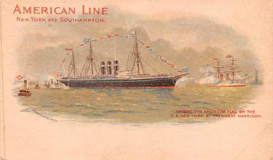 shp010049 - American Line Ship Postcard Old Vintage Antique Post Card