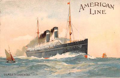 shp010057 - American Line Ship Postcard Old Vintage Antique Post Card