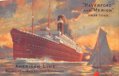 shp010061 - American Line Ship Postcard Old Vintage Antique Post Card