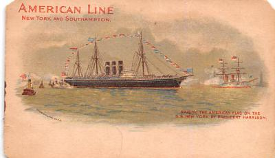 shp010063 - American Line Ship Postcard Old Vintage Antique Post Card