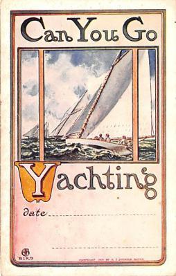 shp010103 - Sail Boat Postcard Old Vintage Antique Post Card