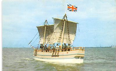 shp010115 - Sail Boat Postcard Old Vintage Antique Post Card