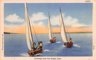 shp010125 - Sail Boat Postcard Old Vintage Antique Post Card