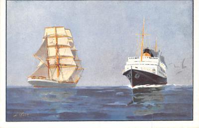 shp010143 - Sail Boat Postcard Old Vintage Antique Post Card