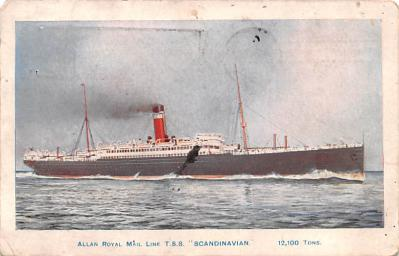 shp010149 - Allan Line Ship Postcard Old Vintage Antique Post Card