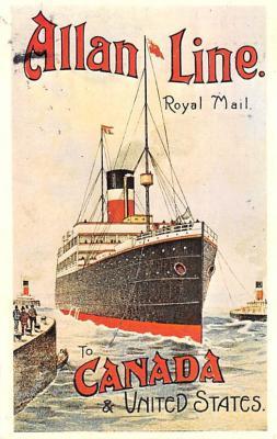shp010153 - Allan Line Ship Postcard Old Vintage Antique Post Card