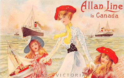 shp010155 - Allan Line Ship Postcard Old Vintage Antique Post Card