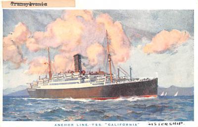 shp010181 - Anchor Line Ship Postcard Old Vintage Antique Post Card