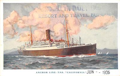 shp010191 - Anchor Line Ship Postcard Old Vintage Antique Post Card