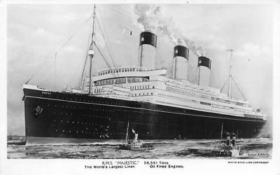 shp010383 - White Star Line Cunard Ship Post Card, Old Vintage Antique Postcard