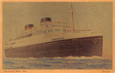 shp010477 - White Star Line Cunard Ship Post Card, Old Vintage Antique Postcard