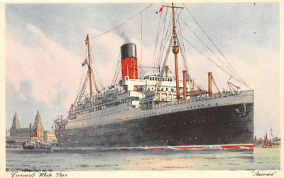 shp010511 - White Star Line Cunard Ship Post Card, Old Vintage Antique Postcard