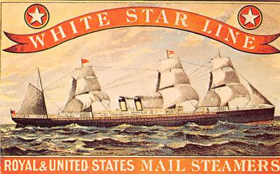 shp010517 - White Star Line Cunard Ship Post Card, Old Vintage Antique Postcard