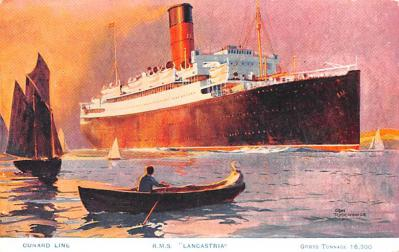 shp010543 - White Star Line Cunard Ship Post Card, Old Vintage Antique Postcard