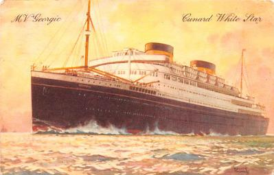 shp010555 - White Star Line Cunard Ship Post Card, Old Vintage Antique Postcard