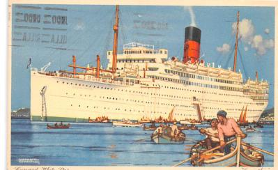 shp010603 - White Star Line Cunard Ship Post Card, Old Vintage Antique Postcard