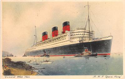 shp010605 - White Star Line Cunard Ship Post Card, Old Vintage Antique Postcard