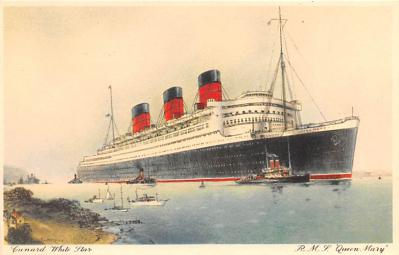 shp010625 - White Star Line Cunard Ship Post Card, Old Vintage Antique Postcard