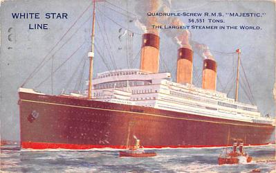 shp010639 - White Star Line Cunard Ship Post Card, Old Vintage Antique Postcard