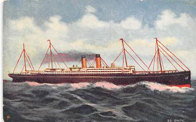 shp010645 - White Star Line Cunard Ship Post Card, Old Vintage Antique Postcard