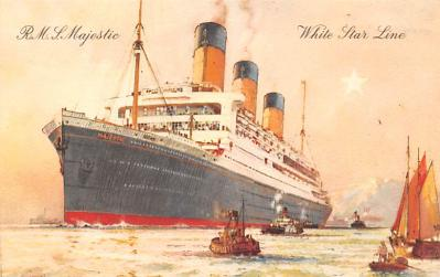 shp010677 - White Star Line Cunard Ship Post Card, Old Vintage Antique Postcard