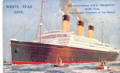 shp010739 - White Star Line Cunard Ship Post Card, Old Vintage Antique Postcard