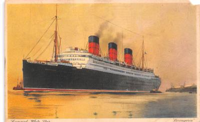 shp010791 - White Star Line Cunard Ship Post Card, Old Vintage Antique Postcard