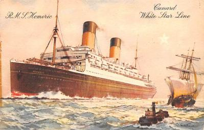 shp010801 - White Star Line Cunard Ship Post Card, Old Vintage Antique Postcard