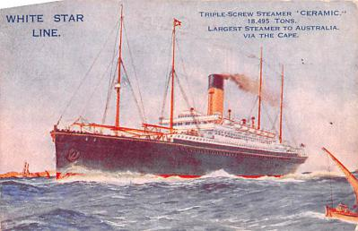 shp010807 - White Star Line Cunard Ship Post Card, Old Vintage Antique Postcard