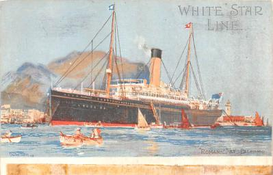 shp010813 - White Star Line Cunard Ship Post Card, Old Vintage Antique Postcard