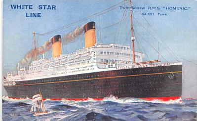 shp010819 - White Star Line Cunard Ship Post Card, Old Vintage Antique Postcard
