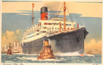 shp010821 - White Star Line Cunard Ship Post Card, Old Vintage Antique Postcard