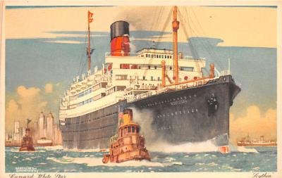 shp010827 - White Star Line Cunard Ship Post Card, Old Vintage Antique Postcard