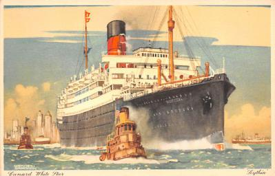 shp010829 - White Star Line Cunard Ship Post Card, Old Vintage Antique Postcard