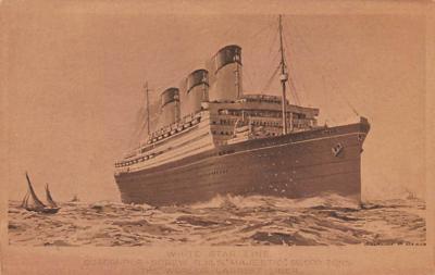 shp010859 - White Star Line Cunard Ship Post Card, Old Vintage Antique Postcard