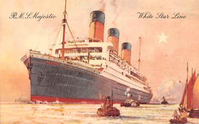 shp010875 - White Star Line Cunard Ship Post Card, Old Vintage Antique Postcard