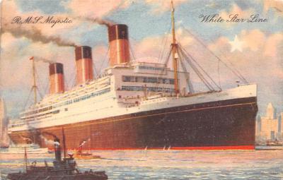 shp010879 - White Star Line Cunard Ship Post Card, Old Vintage Antique Postcard