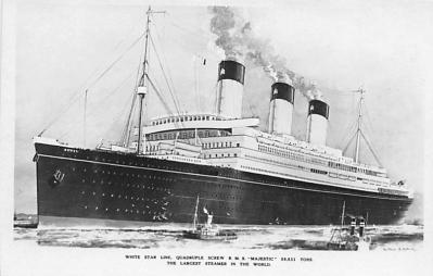 shp010881 - White Star Line Cunard Ship Post Card, Old Vintage Antique Postcard