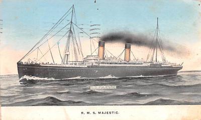 shp010899 - White Star Line Cunard Ship Post Card, Old Vintage Antique Postcard