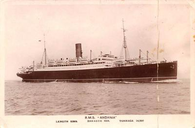 shp010923 - White Star Line Cunard Ship Post Card, Old Vintage Antique Postcard
