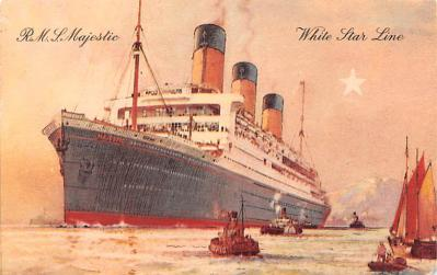 shp010941 - White Star Line Cunard Ship Post Card, Old Vintage Antique Postcard