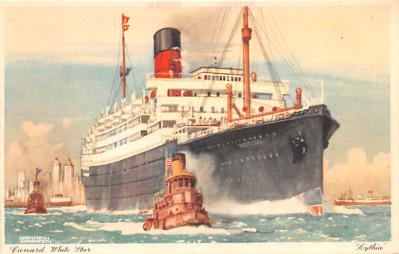 shp010947 - White Star Line Cunard Ship Post Card, Old Vintage Antique Postcard